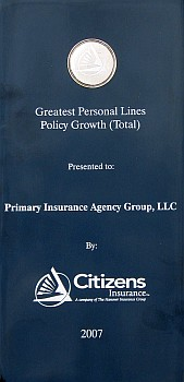 Citizens Greatest Personal Lines Policy Growth Award
